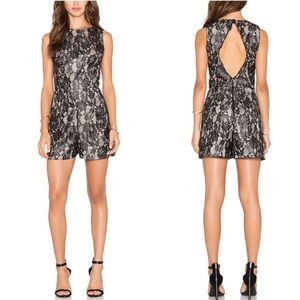 Alice & Olivia Ashleigh black and nude lace romper